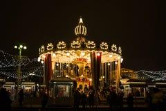 MOSKOU, RUSLAND - December, 2017: Carrousel in het centrum van Moskou Royalty-vrije Stock Afbeeldingen