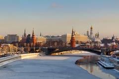 Moskou, Rusland - Februari 01, 2018: Moskou het Kremlin op een zonnige de winterochtend De winter van Moskou Stock Fotografie
