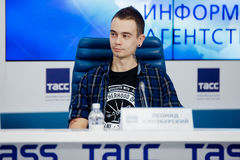 MOSKOU, RUSLAND - FEBRUARI 28, 2017: LOUNA-bandpersconferentie bij het Russische persagentschap van TASS op 28 Februari, 2017 in  Royalty-vrije Stock Foto's