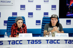 MOSKOU, RUSLAND - FEBRUARI 28, 2017: LOUNA-bandpersconferentie bij het Russische persagentschap van TASS op 28 Februari, 2017 in  Stock Fotografie