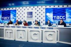 MOSKOU, RUSLAND - FEBRUARI 28, 2017: LOUNA-bandpersconferentie bij het Russische persagentschap van TASS op 28 Februari, 2017 in  Stock Afbeelding