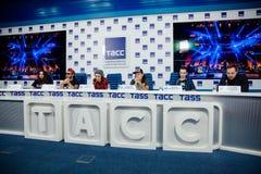 MOSKOU, RUSLAND - FEBRUARI 28, 2017: LOUNA-bandpersconferentie bij het Russische persagentschap van TASS op 28 Februari, 2017 in  Stock Foto's