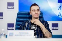 MOSKOU, RUSLAND - FEBRUARI 28, 2017: LOUNA-bandpersconferentie bij het Russische persagentschap van TASS op 28 Februari, 2017 in  Stock Afbeeldingen
