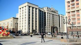 Moskou, Rusland - Februari 18 2016 Mening van de Douma van de Staat van Manezhnaya-Vierkant stock footage