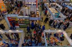 Moskou, Rusland - Februari 25, 2017: Panoramische hoogste mening van het tentoonstellingspaviljoen die en in Rusland, VDNKh jagen Stock Fotografie