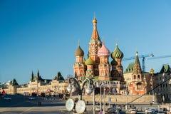 Moskou, Rusland - Februari 18 2016 St de Kathedraal van het basilicum op Rood vierkant stock afbeeldingen