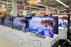 Moskou, Rusland - Februari 02 2016 TV in Eldorado is grote grootwinkelbedrijven die elektronika verkopen Royalty-vrije Stock Foto's