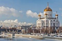 Moskou, Rusland - Februari 22, 2018: Voorgevel van Kathedraal van Christus de Verlosser in Moskou bij zonnige de winterochtend Royalty-vrije Stock Foto
