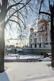 Moskou, Rusland - Februari 22, 2018: Voorgevel van Kathedraal van Christus de Verlosser in Moskou bij zonnige de winterochtend Stock Fotografie