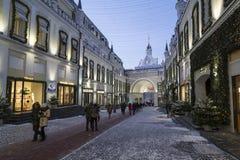 Moskou, Rusland - Januari 17, 2015 De voorgevels van boutiques Stock Afbeelding