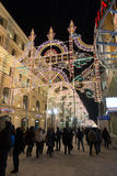 MOSKOU, RUSLAND - Januari 10 2016 Festival - Kerstmis licht op Nikolskaya-straat Stock Fotografie