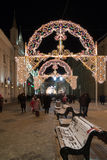 MOSKOU, RUSLAND - Januari 10 2016 Festival - Kerstmis licht op Nikolskaya-straat Stock Foto's