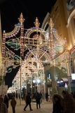 MOSKOU, RUSLAND - Januari 10 2016 Festival - Kerstmis licht op Nikolskaya-straat Stock Foto