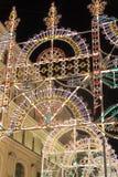MOSKOU, RUSLAND - Januari 10 3016 Festival - Kerstmis licht op straat Nikolskaya in het stadscentrum Stock Foto's
