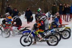 MOSKOU, RUSLAND - 28 Januari 2017: Motocross Open kampioenschap Royalty-vrije Stock Afbeeldingen