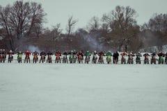 MOSKOU, RUSLAND - 28 Januari 2017: Motocross Open kampioenschap Stock Foto