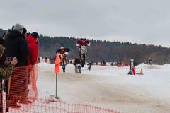 MOSKOU, RUSLAND - 28 Januari 2017: Motocross Open kampioenschap Royalty-vrije Stock Foto's