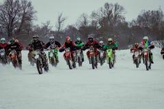 MOSKOU, RUSLAND - 28 Januari 2017: Motocross Open kampioenschap Royalty-vrije Stock Foto