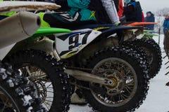 MOSKOU, RUSLAND - 28 Januari 2017: Motocross Open kampioenschap Royalty-vrije Stock Afbeelding