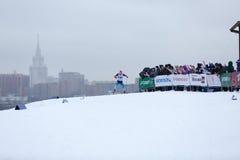 Moskou, RUSLAND - Januari 18 2015: Rasdeelnemers van FIS Continentaal Ski Cup Stock Foto