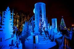 MOSKOU, RUSLAND - JANUARI 7, 2016: Silhouetten van dieren in de Pushkin-Fontein stock afbeelding