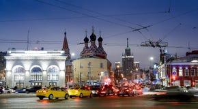 MOSKOU, RUSLAND - Januari 27 2017: Taganskayavierkant Royalty-vrije Stock Foto
