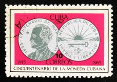 MOSKOU, RUSLAND - JULI 15, 2017: De zeldzame die zegel in Cuba wordt gedrukt toont Stock Foto's