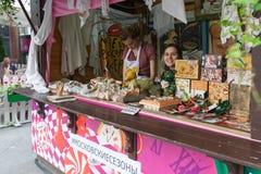 Moskou, Rusland, 24 Juli, 2016, het de Zomerfestival van Moskou, de jammarkt van Moskou Royalty-vrije Stock Foto