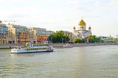MOSKOU, RUSLAND - JUNI 14, 2016: een mening van de Tempel van Christus de Verlosser Royalty-vrije Stock Fotografie