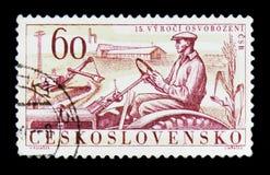 MOSKOU, RUSLAND - JUNI 20, 2017: Een zegel in Czechoslovaki wordt gedrukt die Stock Afbeelding