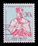 MOSKOU, RUSLAND - JUNI 20, 2017: Een zegel in Czechoslovaki wordt gedrukt die Stock Foto's