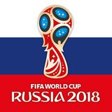 MOSKOU, RUSLAND, juni-juli 2018 - de Wereldbekerembleem van Rusland 2018 en de vlag van Rusland Stock Foto's