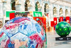 Moskou, Rusland, 20 Juni, 2018 Wereldbeker 2018, de streek van de voetbalventilator Royalty-vrije Stock Foto