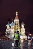 Moskou, RUSLAND - MAART 31: nachtlandschap in de vroege lente in het stadscentrum in Moskou op 31 Maart, 2014 Royalty-vrije Stock Fotografie