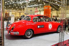 MOSKOU, RUSLAND - MAART 9: Retro automobiel Jaguar Mk II 1962 bij Stock Foto's