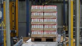 Moskou, Rusland - mag, 2017: Ingepakte doos op productielijn klem Kartondozen op transportband in fabriek Royalty-vrije Stock Afbeelding