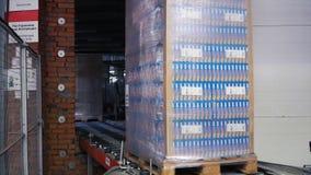 Moskou, Rusland - mag, 2017: Ingepakte doos op productielijn klem Kartondozen op transportband in fabriek Stock Afbeelding