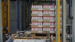 Moskou, Rusland - mag, 2017: Ingepakte doos op productielijn klem Kartondozen op transportband in fabriek Stock Foto's