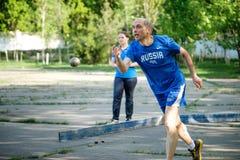 MOSKOU, RUSLAND - MEI 12, 2018: Russisch toernooiendag Runnen van Bocce-volo Stock Afbeeldingen
