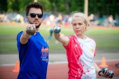 MOSKOU, RUSLAND - MEI 12, 2018: Russisch toernooiendag Runnen van Bocce-volo Royalty-vrije Stock Fotografie