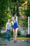 MOSKOU, RUSLAND - MEI 12, 2018: Russische toernooiendag die lopen van Royalty-vrije Stock Afbeeldingen