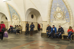 MOSKOU, RUSLAND 11 11 2014 metro post Taganskaya, Rusland Metro van Moskou vervoert meer dan 7 miljoen passagiers per dag Stock Afbeelding