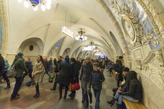 MOSKOU, RUSLAND 11 11 2014 metro post Taganskaya, Rusland Metro van Moskou vervoert meer dan 7 miljoen passagiers per dag Stock Fotografie