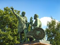 moskou Rusland Monument aan Minin en Pozharsky Stock Fotografie