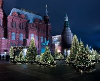 Moskou, Rusland-01/01/2018 nachtmening royalty-vrije stock foto