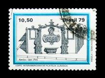 MOSKOU, RUSLAND - NOVEMBER 23, 2017: Een zegel in sh die Brazilië wordt gedrukt royalty-vrije stock fotografie