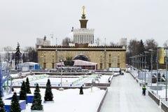 MOSKOU, RUSLAND - November 29, 2016: Park VDNKh, de het schaatsen piste Royalty-vrije Stock Afbeelding