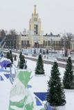 MOSKOU, RUSLAND - November 29, 2016: Park VDNKh, de het schaatsen piste Royalty-vrije Stock Foto's
