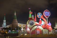 MOSKOU, RUSLAND - OKTOBER 07, 2017: : Let op de aftelprocedure vóór het begin van de Wereldbeker 2018 van FIFA bij Manezh-vierkan Royalty-vrije Stock Foto's