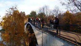 Moskou, Rusland - Oktober 14 2018 mensen op voetbrug in Izmailovo-Park stock videobeelden